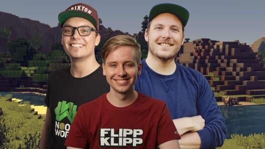 """Fra Hele Norge Bygger. F.v.: Joachim """"Noobwork"""" Haraldsen, Henrik """"Huginn"""" Hildre og Niklas Baarli skal lede sendingen både på NRK Super og på Youtube."""