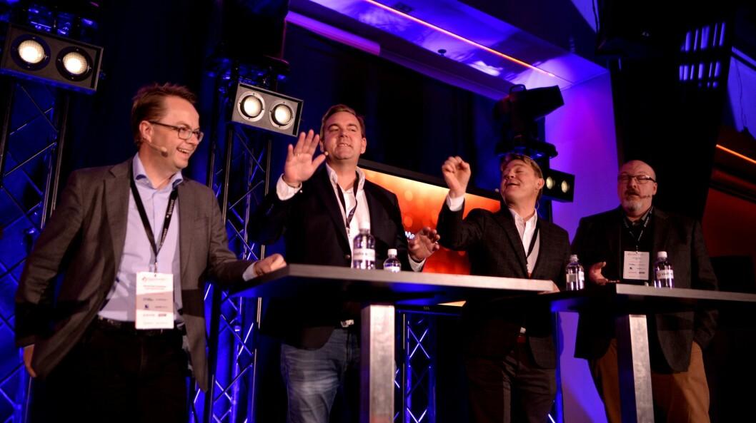 Debatt om radiobransjens utvikling, fra venstre: Forhandlingsdirektør Harald Eide-Fredriksen i Dentsu Aegis, Bauer Media-sjef Lasse Kokvik. P4-sjef Kenneth Andresen og fungerende radiosjef Jon Branæs i NRK.