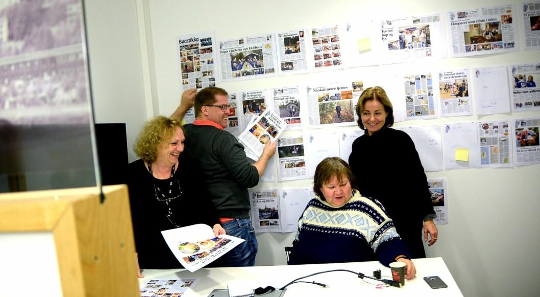 PROSJEKTGRUPPA, fra venstre: Redigerer Toril S. Tørmoen, redaksjonssjef Jørgen Dahl Kristensen, journalist Mette Sjølie og annonsekonsulent Hanne Tønnesen.