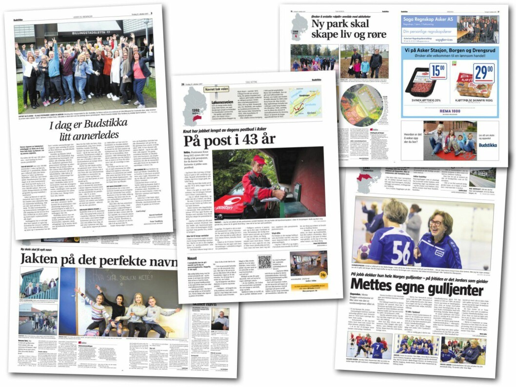 Noen av sidene i dagens avis.