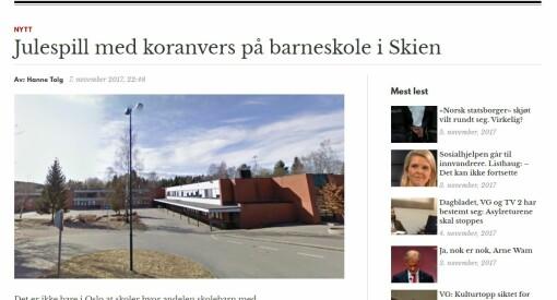 Helt riktig, Document.no: Det stemmer at Stigeråsen skole i Skien skal framføre et julespill som inneholder to vers fra Koranen