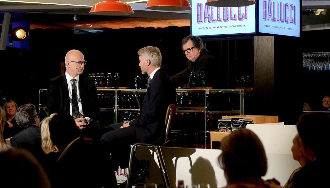NRKs Thor Gjermund Eriksen og TV 2s Olav T. Sandnes. Arkivfoto.