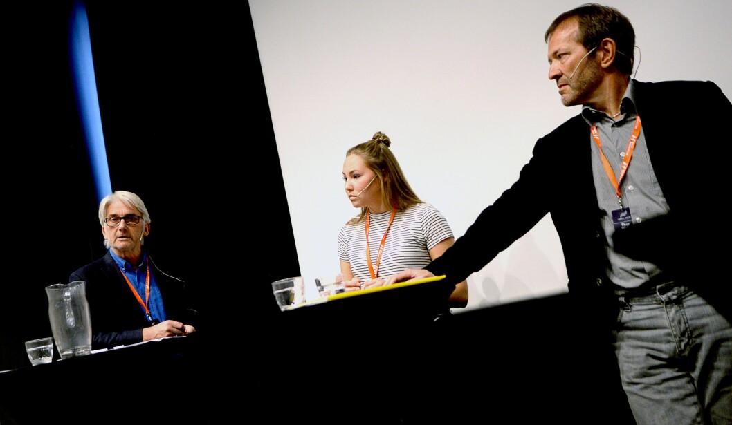 Fra venstre: Studieprogramansvarlig Bengt Engan, student og NJ Student-leder Oda Stine Viken og tidligere redaktør Thor Woje.