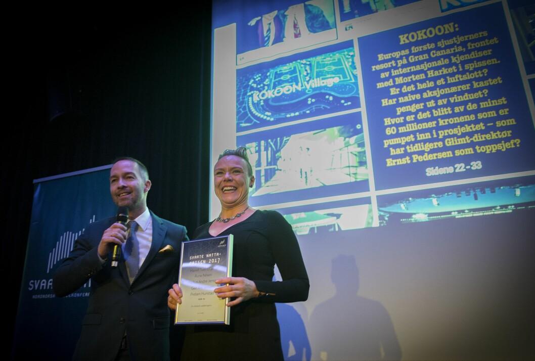 HENTET PRIS: Geir Are Jensen og Mariell Tverrå Løkås i Bodø Nu.