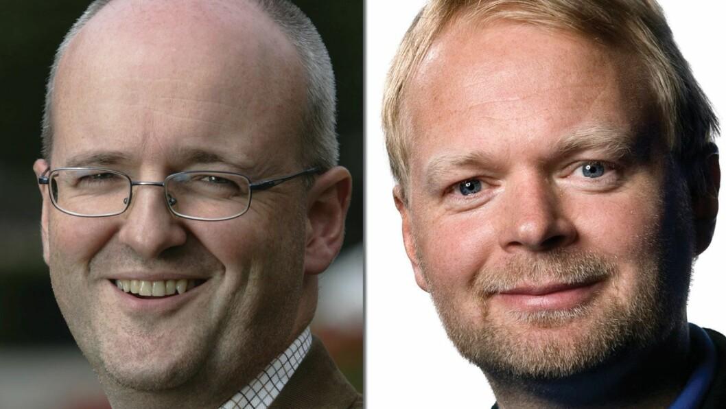 TV 2-TOPPER: Tidligere kommunikasjonsdirektør Rune Indrøy (t.v.) og nåværende sportsredaktør Vegard Jansen Hagen.