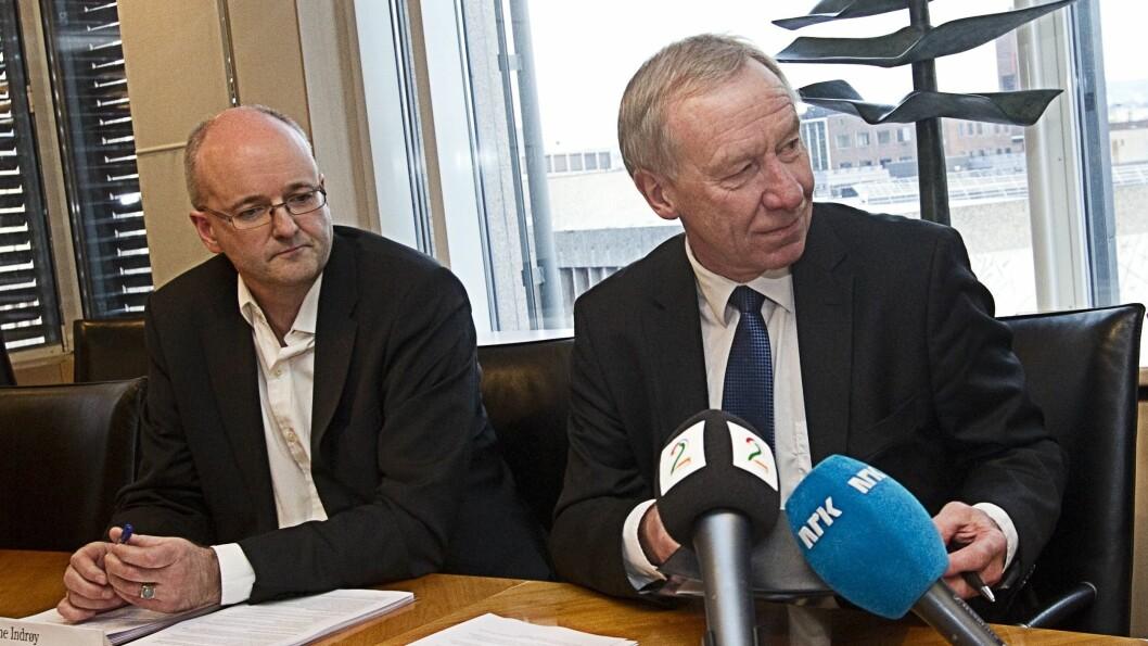 TIDLIGERE TV 2-TOPPER: Daværende kommunikasjonsdirektør Rune Indrøy og toppsjef Alf Hildrum. Bildet er fra 2010.