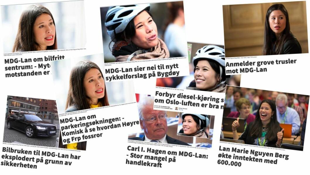 «MDG-LAN»: Et utvalg eksempler på Nettavisens omtaler av miljøbyråd Lan Marie Nguyen Berg i Oslo kommune.