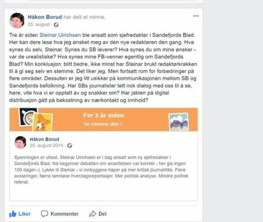 Fra Håkon Boruds Facebook - høsten 2014 og 2017.