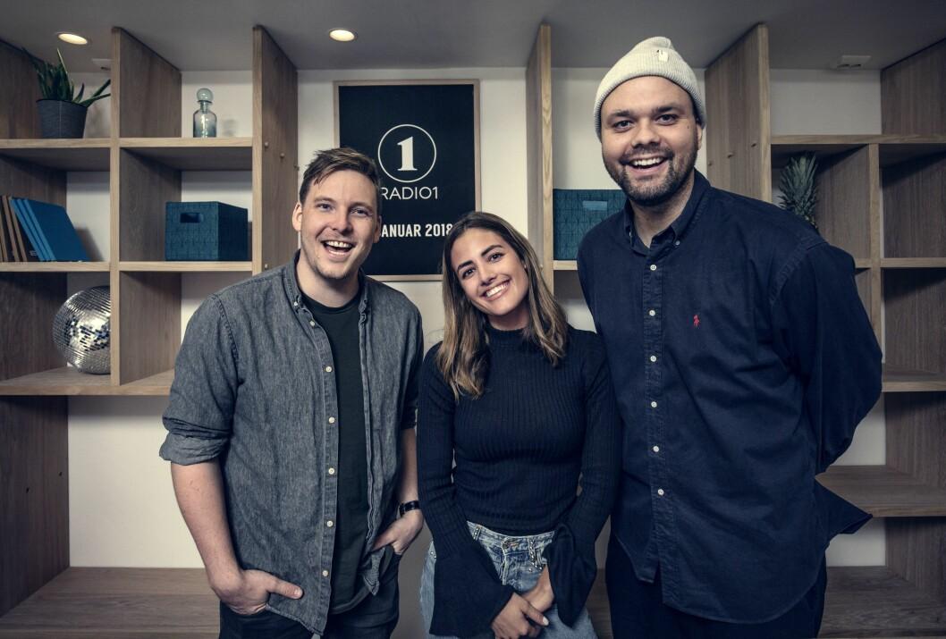 Programlederne i Radio 1s frokostradio når fortsatt ikke ut til de helt store massene: Niklas Baarli, Samantha Skogrand og Lars Berrum.