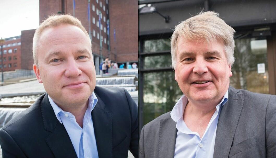 Resett skal nå vurdere om Helge Lurås (til venstre) og Resett brøt god presseskikk i forbindelse med omtale av Oppland Arbeiderblad og Erik Sønstelies rolle under en demonstrasjon på Gjøvik.