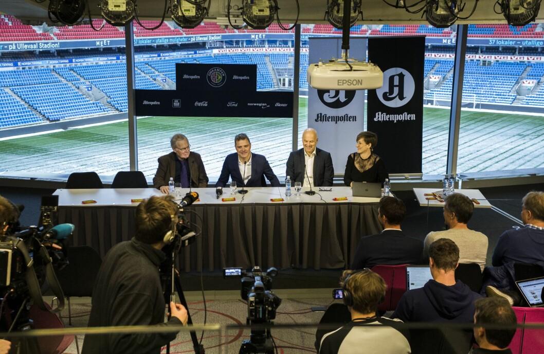 Aftenposten arrangerer omkamp mellom Norge og Brasil i 2018. Her fra pressekonferanse på Ullevål stadion onsdag 29. november.