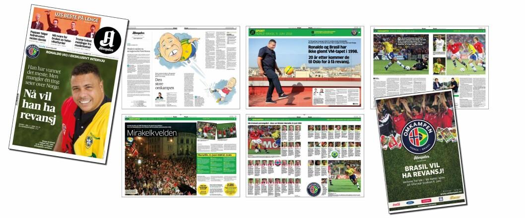OMFATTENDE DEKNING: Slik omtales og dekkes fotballkampen på papir i dag. Kun den siste siden av disse framstår som en annonse.
