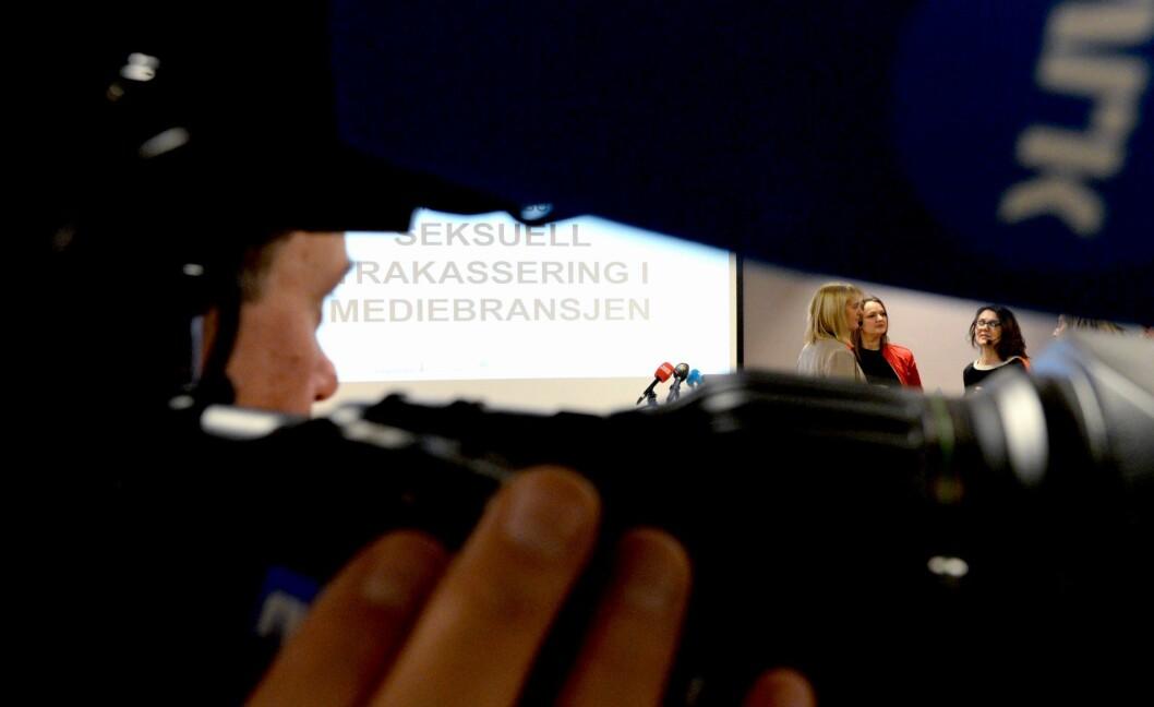 15. desember 2017 la medieorganisasjonene fram en stor undersøkelse om seksuell trakassering. Til høyre i bildet; MBL-direktør Randi Øgrey, NJ-leder Hege Iren Frantzen og assisterende generalsekretær Reidun Kjelling Nybø i Norsk Redaktørforening.