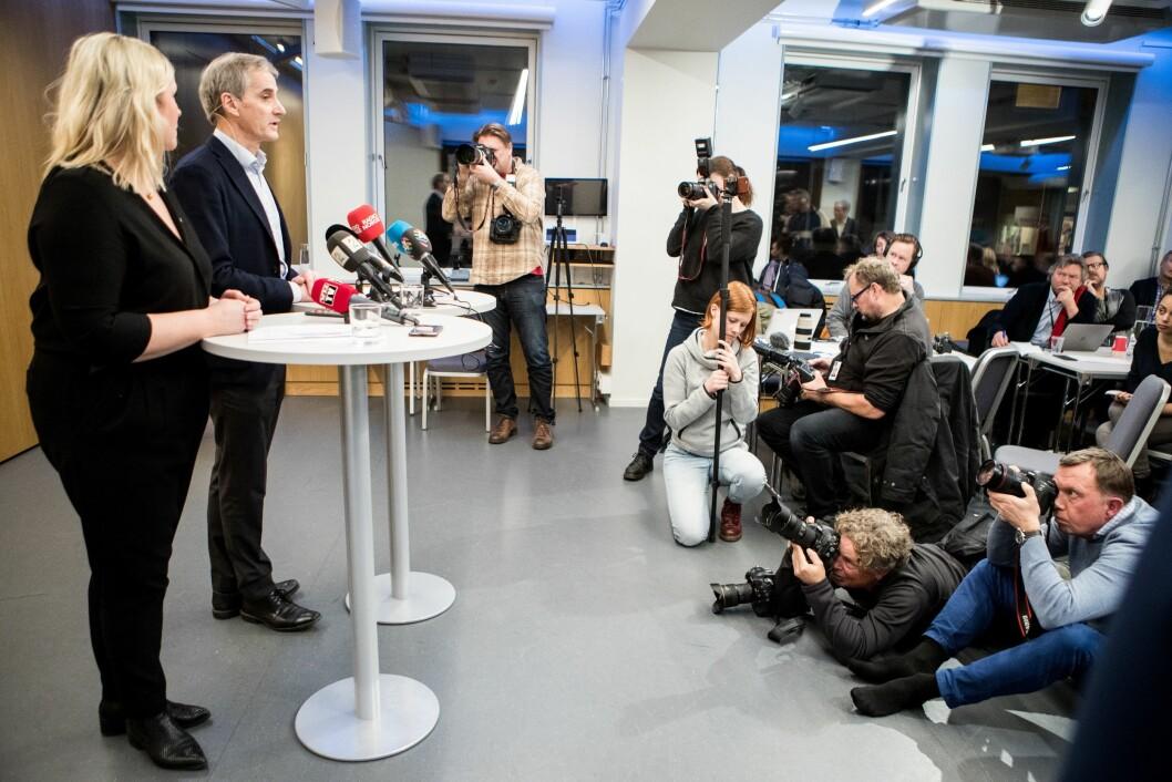 Etter mange år med enda flere rykter, har Trond Giske-saken for alvor kommet til overflaten. Her fra tirsdagens pressekonferanse etter sentralstyremøtet i Arbeiderpartiet.