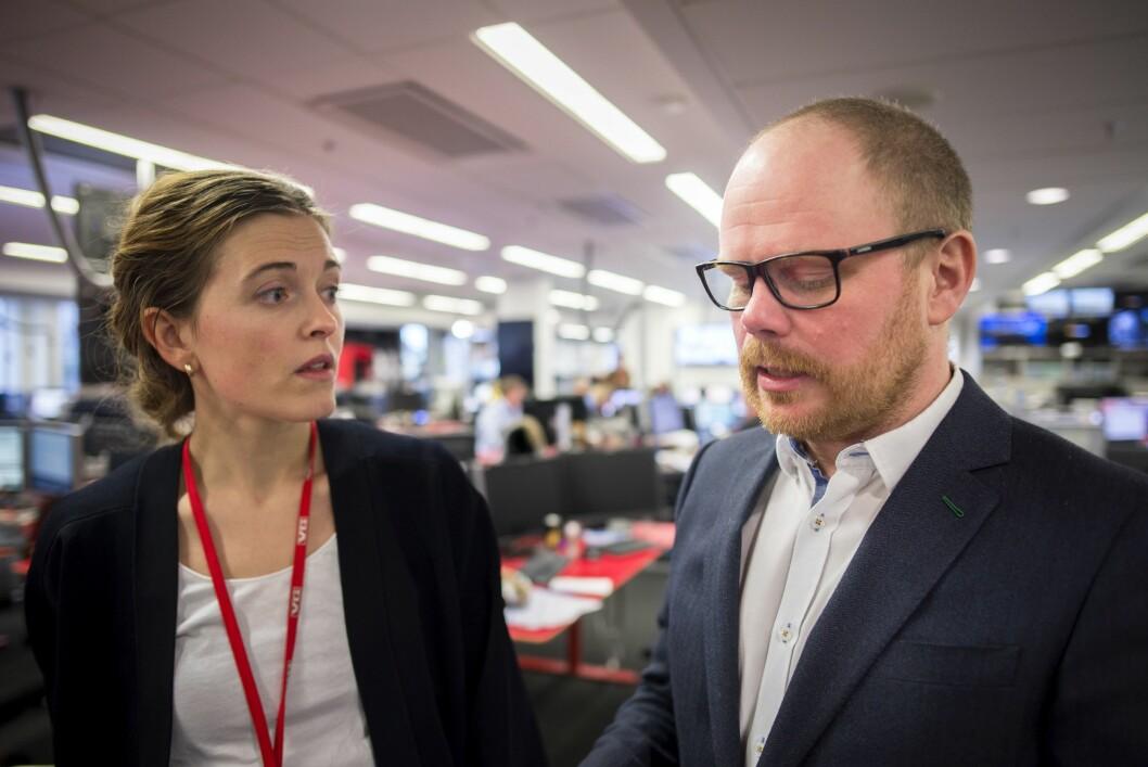 Nyhetsredaktør Tora Bakke Håndlykken og sjefredaktør Gard Steiro i VG.