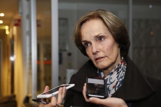 Styreleder Anette Olsen etter et ekstraordinært styremøte i NHST Media Group AS, november 2017.