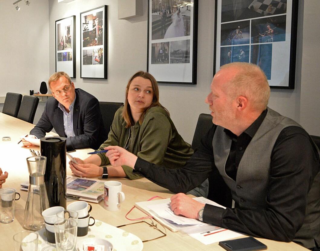 Adm. dir Per Brikt Olsen i Fagpressen, leder Hege Iren Frantzen i Norsk Journalistlag og leder Arne Jensen i Norsk Redaktørforening.