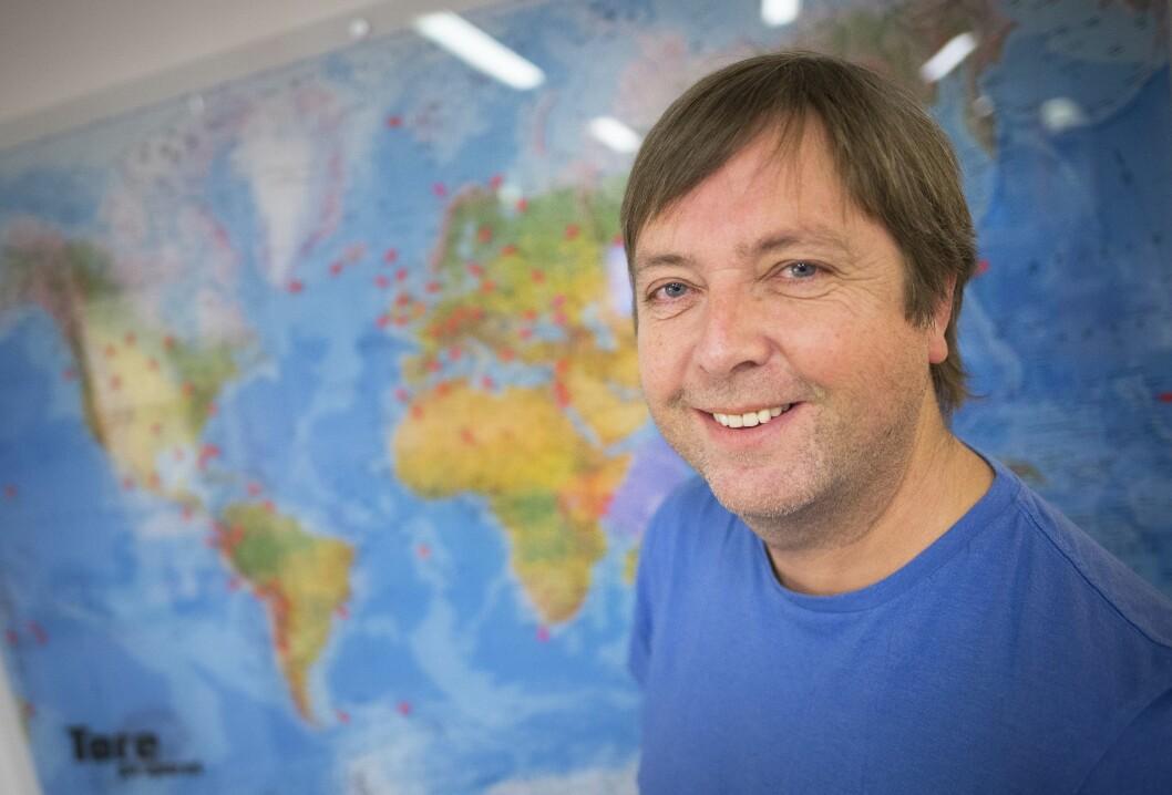 Programleder Tore Strømøy i «Tore på sporet» på NRK. Her fra sine kontorer på Tyholt i Trondheim.