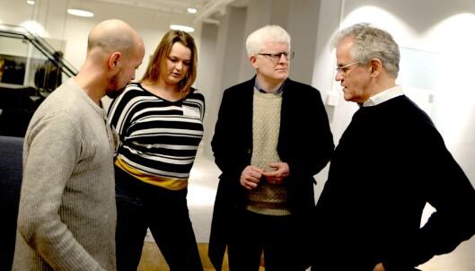 Fra venstre: NRKs etikkredaktør Per Arne Kalbakk, NJs leder Hege Iren Frantzen, nestleder Dag Idar Tryggestad - og PFU-leder Alf Bjarne Johnsen.