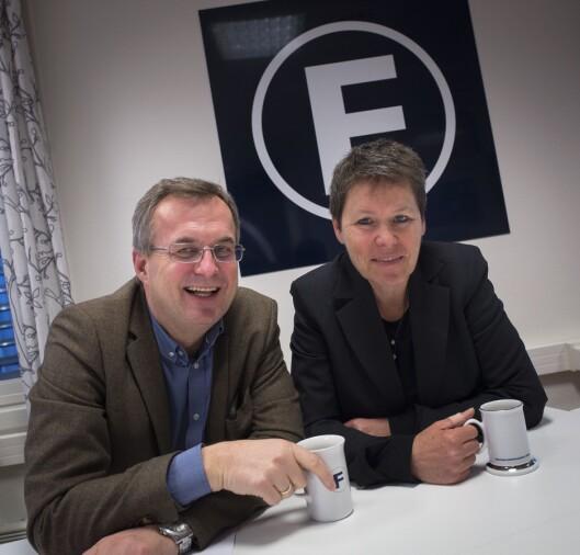 Administrerende direktør Per Brikt Olsen og nestleder Berit Nyman i Fagpressen. Her fra deres lokaler i Oslo sentrum.