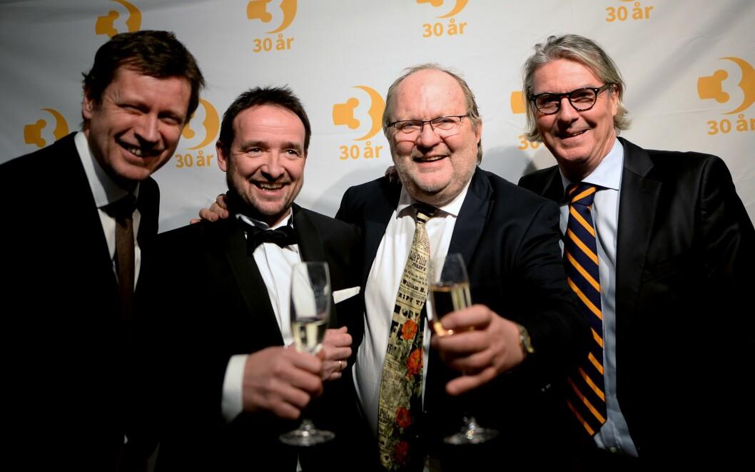 TV-SJEFENE: Fire av de mange nåværende og tidligere sjefene i TV3 og MTG. Fra venstre - Trygve Rønningen (nå kanaldirektør i TV 2), nåværende TV3-sjef Morten Micalsen, TV-nestor Kalle Lisberg og dagens MTG-sjef Morten Aass.