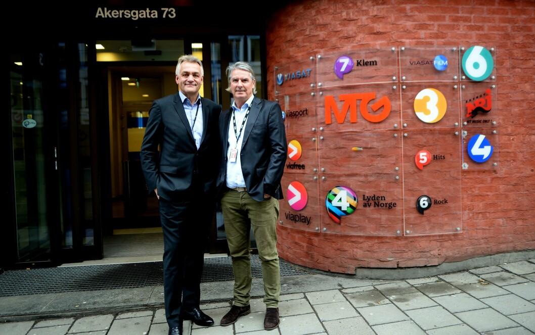 Get-sjef Gunnar Evensen og MTG Norge-sjef Morten Aass i Akersgata torsdag formiddag. Hvor det nye selskapet får hovedkontor i Norge er foreløpig uklart; Get med sine 800 ansatte sitter på Tåsen i Oslo.
