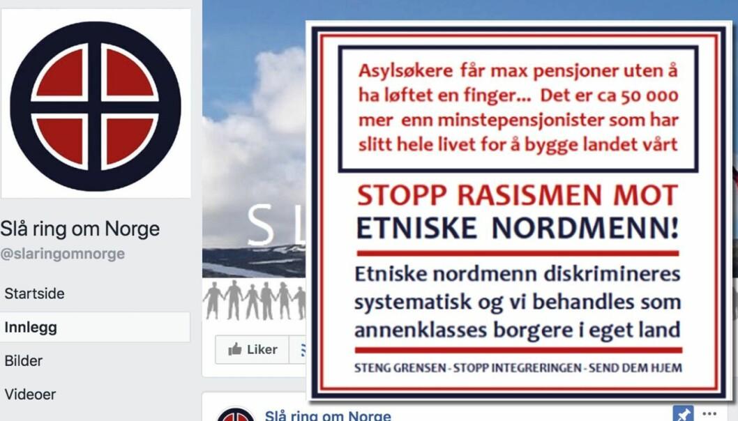 Facebook-siden «Slå ring om Norge» publiserte nylig påstanden om asylsøkeres pensjon (innfelt). Den er senere fjernet fra siden.
