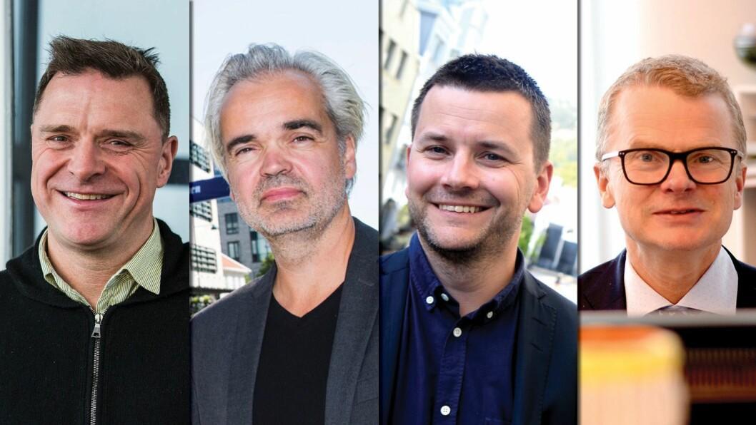 FLERE ABONNENTER: Det kan disse fire sjefredaktørene juble for - fra venstre; Espen Egil Hansen (Aftenposten), Eivind Ljøstad (Fædrelandsvennen), Øyulf Hjertenes (Bergens Tidende) og Lars Helle (Stavanger Aftenblad).