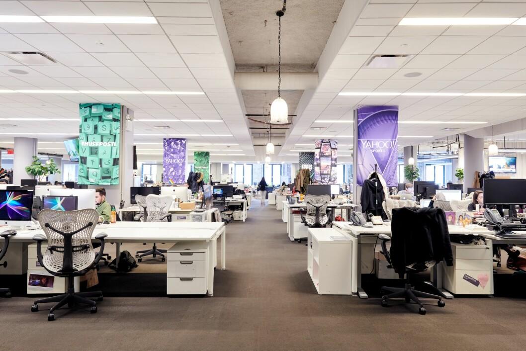 Huffington Post sitt nyhetsrom i New York.