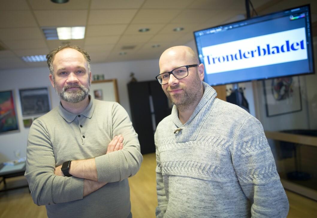 Daglig leder Stig Mikkelsen og redaktør Lars Østraat i Trønderbladet.