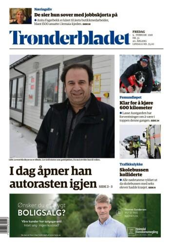 Trønderbladet papirutgave fredag 9. februar 2018.