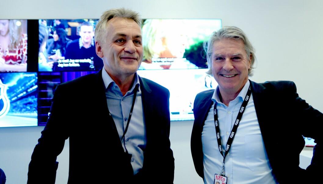 Get-sjef Gunnar Evensen og MTG Norge-sjef Morten Aass torsdag 1. februar - da fusjonsplanene ble kjent.