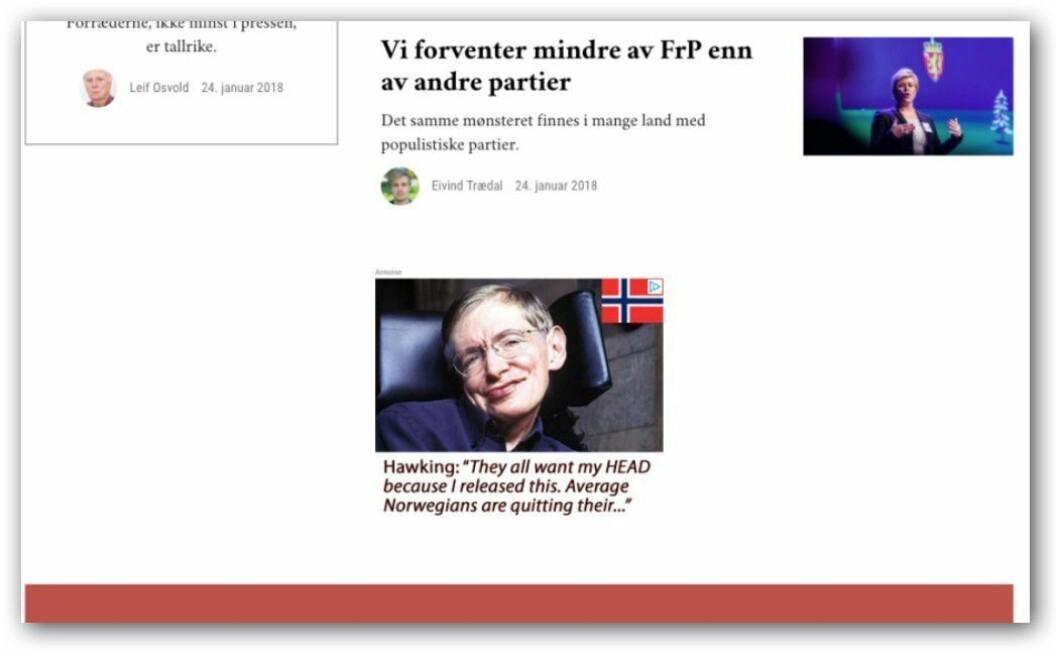 Minerva er en av de norske nettstedene som - i likhet med Google - tjener penger på falske annonser for Stephen Hawking.
