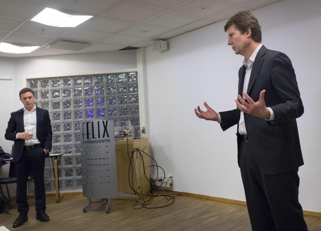 Konsernsjef Per Axel Koch og CFO Per Olav Monseth i Polaris Media