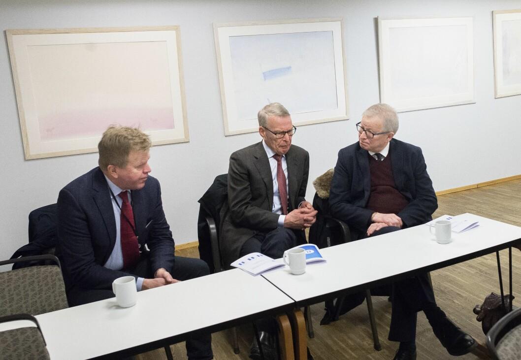 På kvartalspresentasjonen til Polaris Media: Gunnar Bjørkavåg og Erik Must i Must Invest, samt styreleder Bernt Olufsen i Polaris Media.