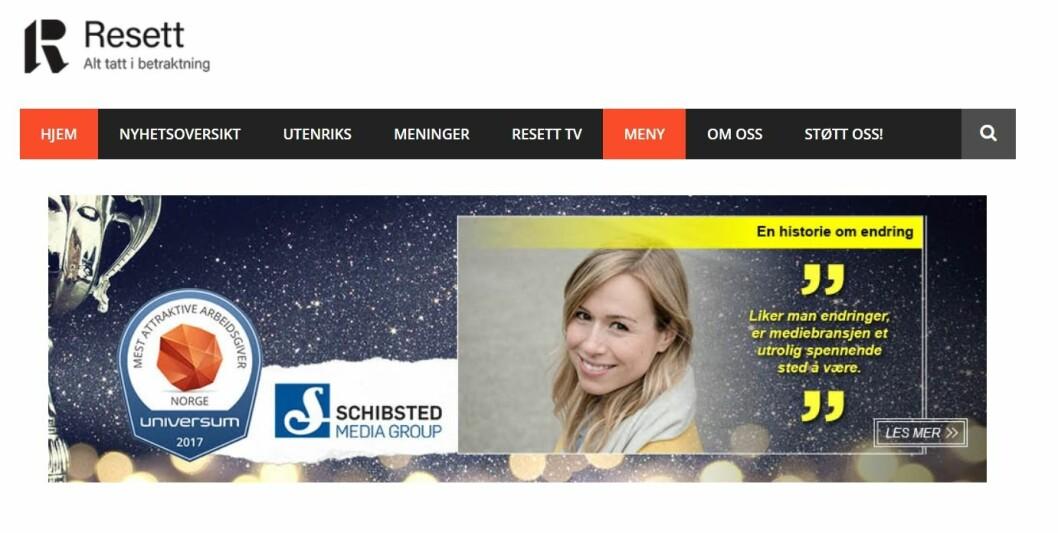 Schibsted-profilering på Resett - gjennom en kampanje fra Universum.