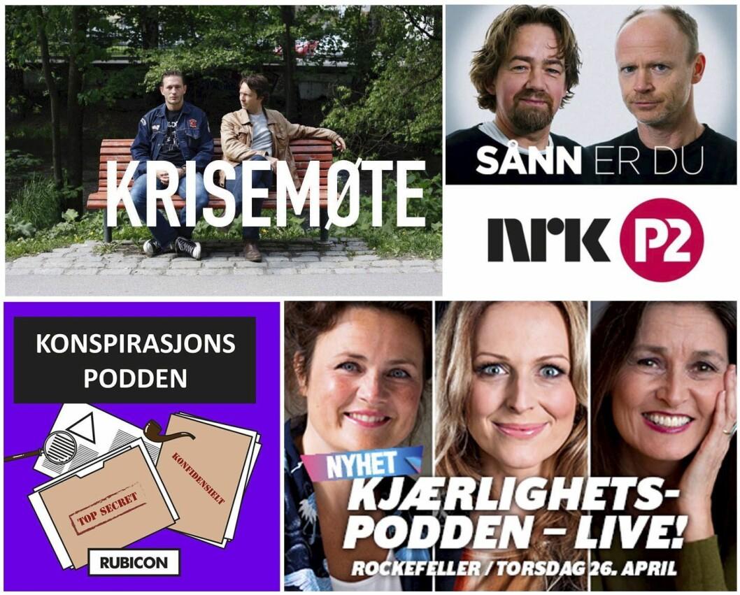 Fire podder som har entret livescenen: «Krisemøte», «Sånn er du», «Kjærlighetspodden» og nyeste ut, «KonspirasjonsPodden».