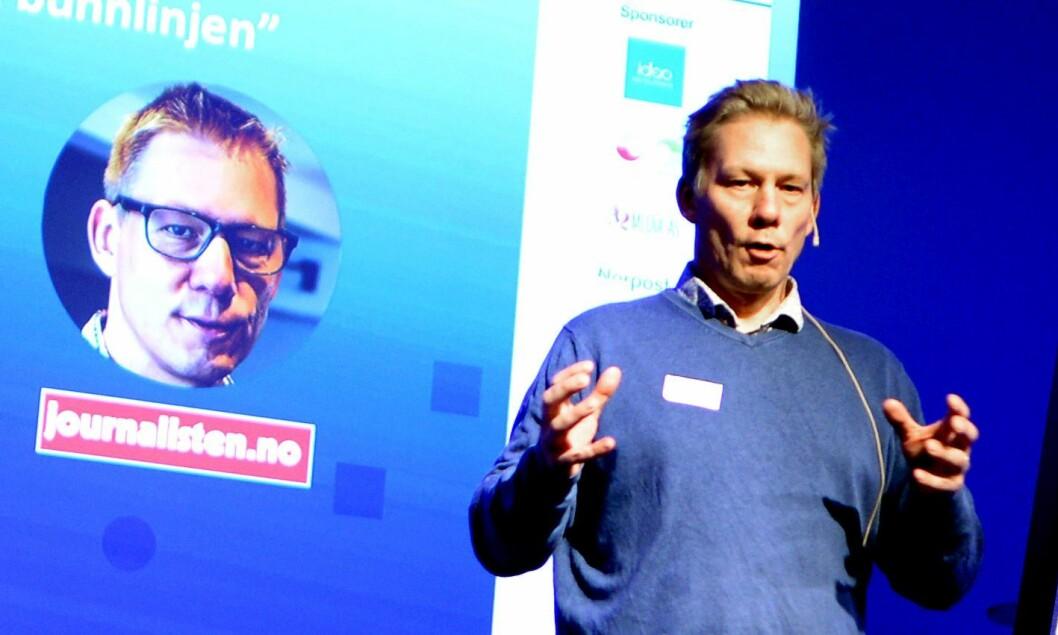 Martin Huseby Jensen, avtroppende redaktør i Journalisten. Bildet er fra Fagpressedagen 2017 for noen måneder siden.