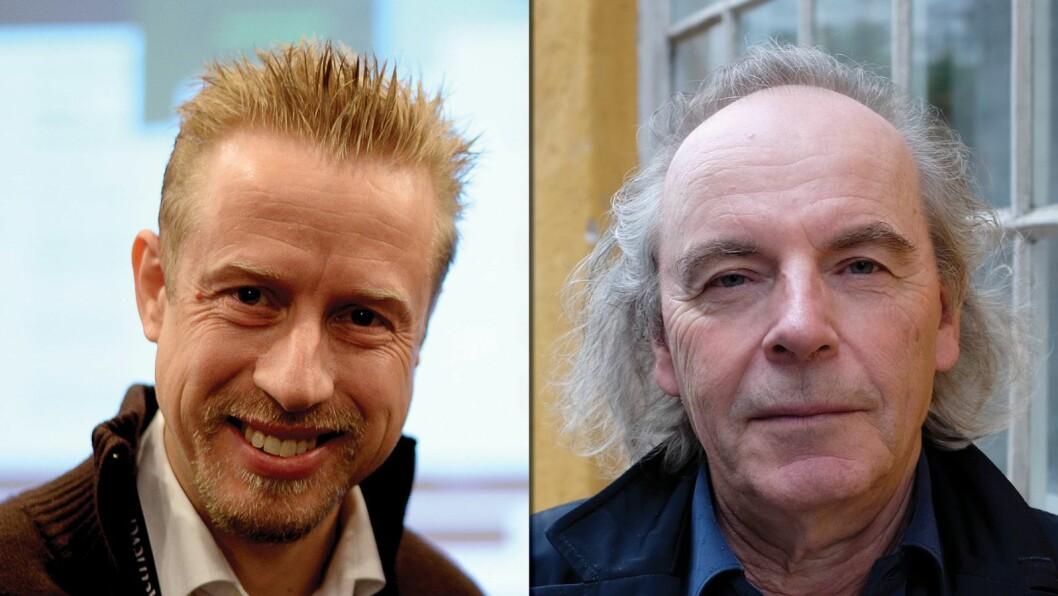 Faktisk-redaktør Kristoffer Egeberg (t.v.) fortsetter debatten med professor og forfatter Terje Tvedt.