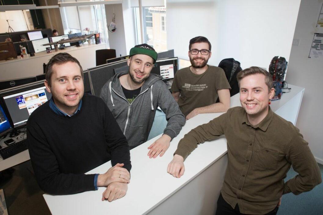 FRA VENSTRE: Tor-Steinar Nastad Tangedal, Erling Rostvåg, Øystein Aarseth og Audun Rodem i Gamer.no får ny eier.