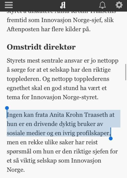 Fra Harald Stanghelles kommentar om Innovasjon Norge.