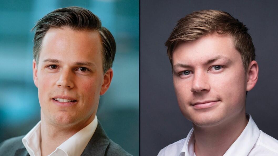 Informasjonsdirektør Even Westerveld (t.v.) i DNB får kritikk fra Jostein Larsen Østring, direktør for innholdsutvikling i Amedia.
