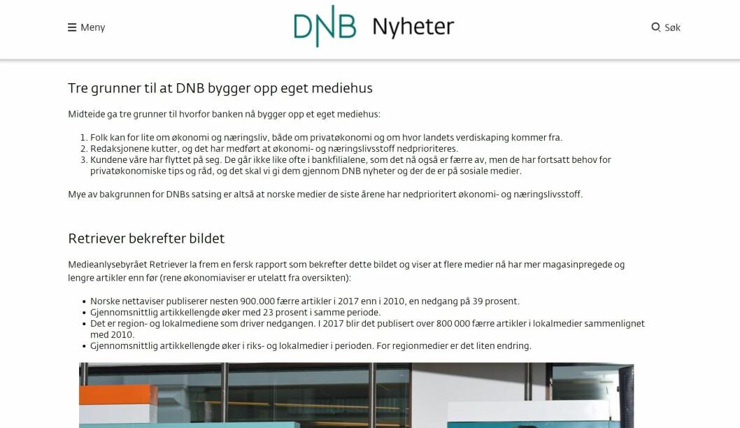 «BEKREFTER BILDET»: Fra DNB Nyheter onsdag ettermiddag.