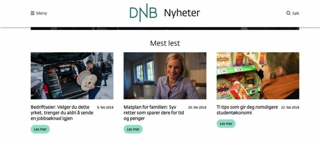 FORBRUKERSTOFF: - De mest leste sakene til DNB Nyheter er klassisk forbrukerstoff, og i liten grad saker som gir dypere kunnskap om tilstanden i norske bedrifter og næringsliv, skriver Jostein Larsen Østring.