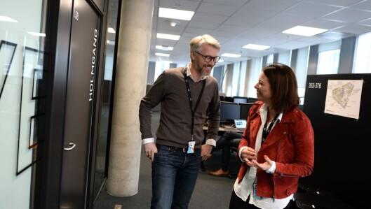 TV 2-sjef Olav Sandnes og organisasjonsdirektør Sarah Willand - her i nytt bygg i Oslo.