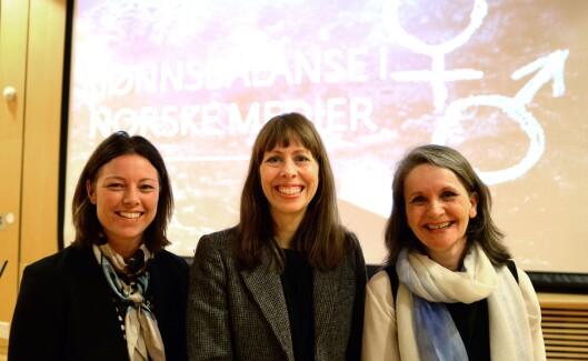 JOBBER FOR KJØNNSBALANSE, fra venstre: Organisasjonsdirektør Sarah Willand i TV 2, Morgenbladet-sjef Anna B. Jenssen og politisk redaktør Hanne Skartveit i VG.