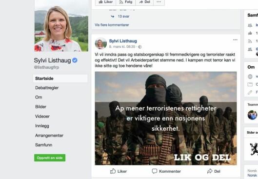 Sylvi Listhaug slettet dette innlegget fra sin offentlige facebookprofil.