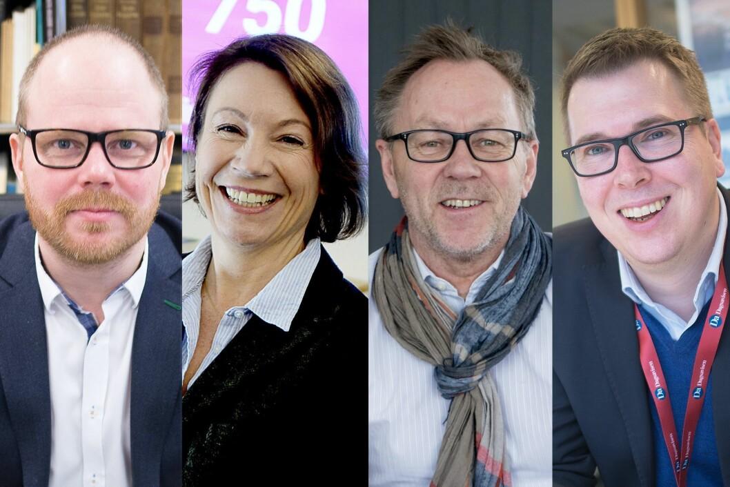 Sjefredaktørene avslører sine beste tips til jobbsøkere. Fra venstre: Gard Steiro i VG, Kjersti Sortland i Budstikka, John Arne Markussen i Dagbladet og Eirik Hoff Lysholm i Dagsavisen.