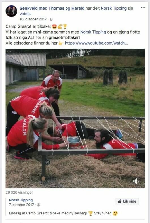 Slik delte Senkveld et kommersielt innslag for Norsk Tipping på egen Facebook-vegg.