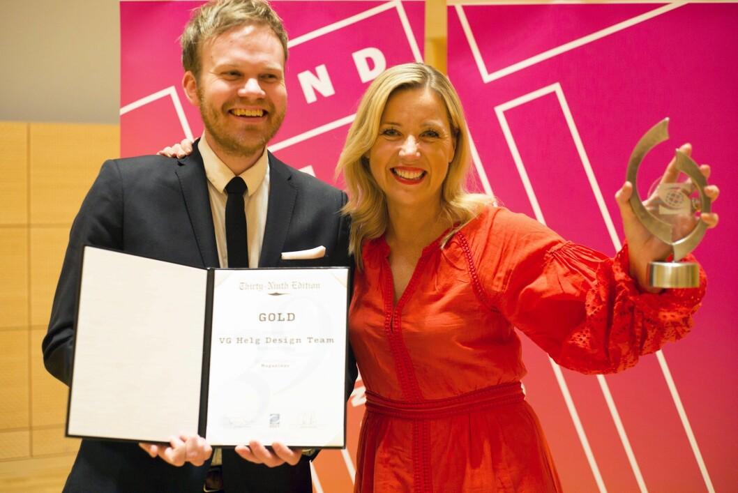 VG Helg-redaktør Jane Throndsen og AD Simen Grytøyr hentet hjem gull i New York fredag kveld.